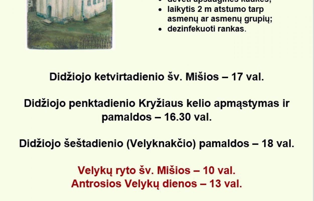 Informacija dėl Šv. Mišių velykiniu laikotarpiu